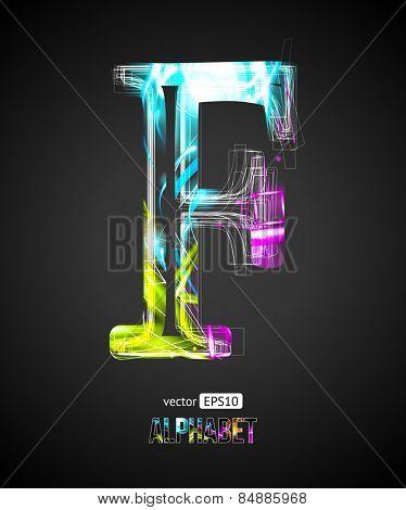 Vector Design Light Effect Alphabet. Letter F on a Black Background.