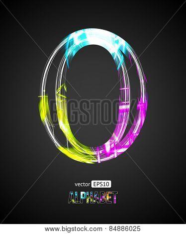 Vector Design Light Effect Alphabet. Letter O on a Black Background.