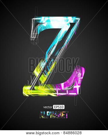 Vector Design Light Effect Alphabet. Letter Z on a Black Background.