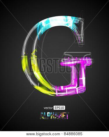 Vector Design Light Effect Alphabet. Letter G on a Black Background.