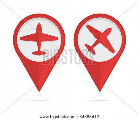 Vector pointers with airplane, travel symbol
