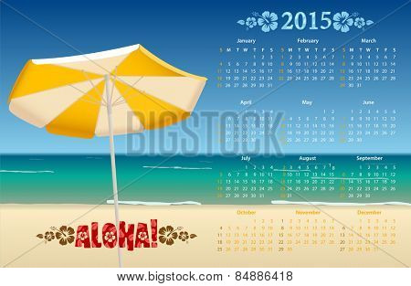 Vector American calendar 2015 with tropic beach, starting from Sundays