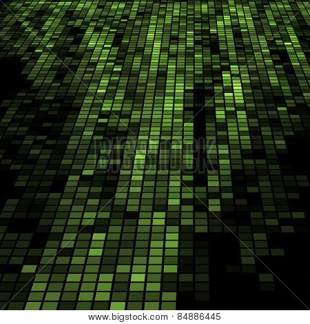 Dark green 3D mosaic technology background.
