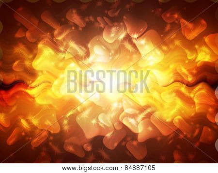 Bright rays of light and stars. Abstract background.