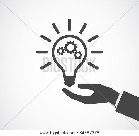 hand support lightbulb with gears design icon