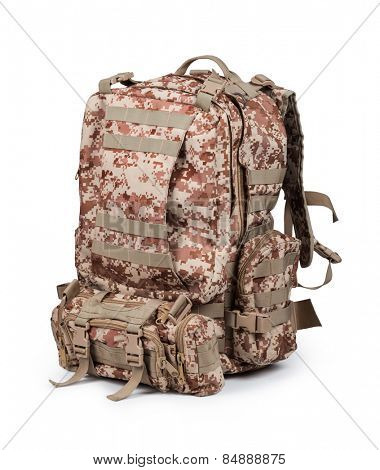 camouflage backpack isolated on white background