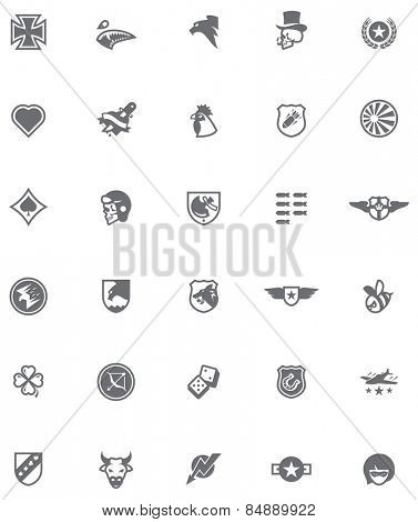 Set of the military emblems in World War 2 style