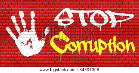 stop corruption fraud and bribery political or police can be corrupt graffiti on red brick wall, text and hand