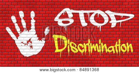 stop discrimination no racism agains minorities equal rigths no homophobia or gender discrimination graffiti on red brick wall, text and hand