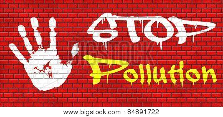 stop pollution reuse and recycle go green renewable energy and sustainable agriculture reduce waste graffiti on red brick wall, text and hand
