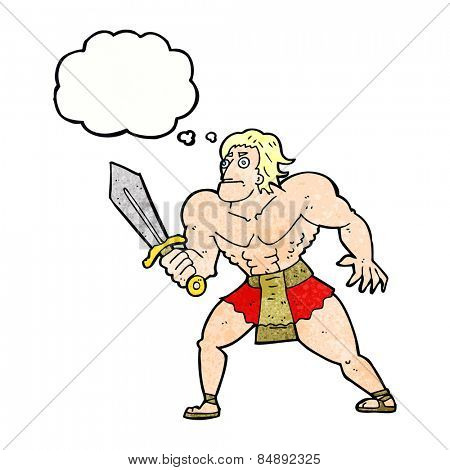 cartoon fantasy hero man with thought bubble
