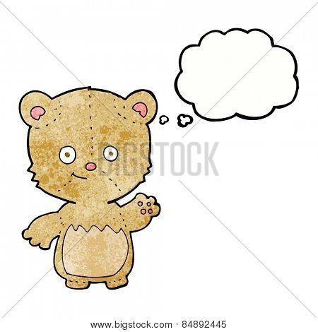 cartoon little teddy bear waving with thought bubble
