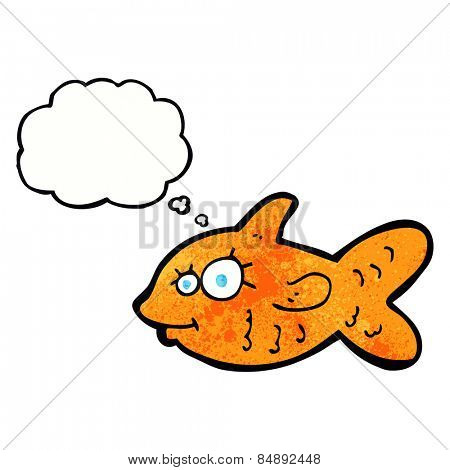 cartoon happy goldfish with thought bubble
