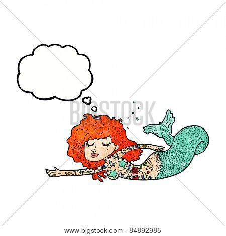 cartoon mermaid with tattoos with thought bubble