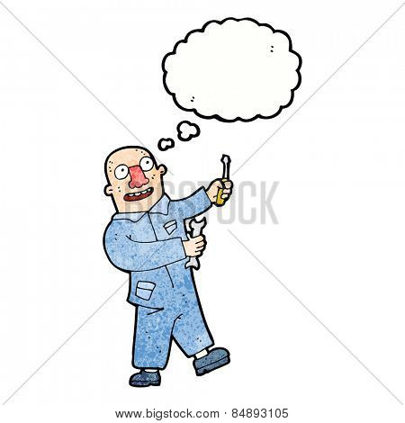 cartoon mechanic with thought bubble