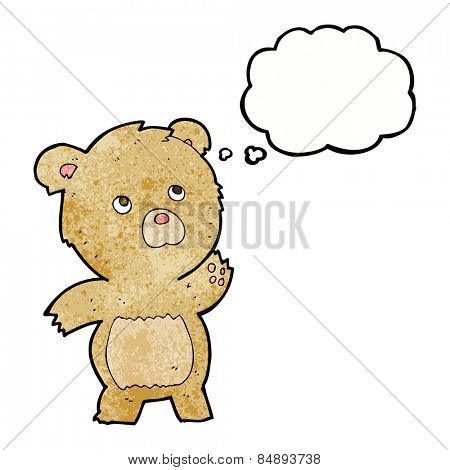 cartoon curious teddy bear with thought bubble