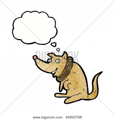 cartoon happy dog in big collar with thought bubble