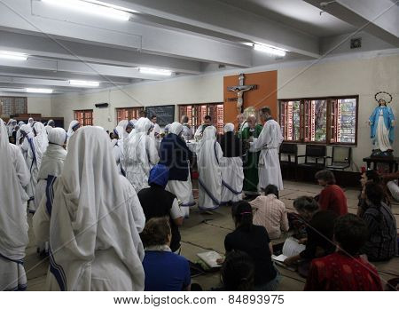 KOLKATA, INDIA - JANUARY 30: Sisters of The Missionaries of Charity of Mother Teresa at Mass in the chapel of the Mother House, Kolkata, India at January 30, 2019.