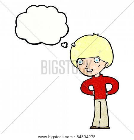 cartoon happy boy with hands on hips with thought bubble