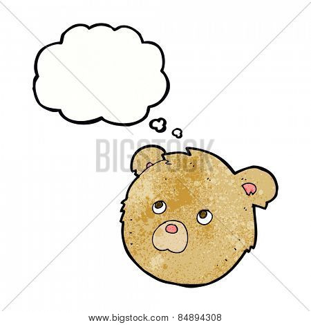 cartoon teddy bear face with thought bubble