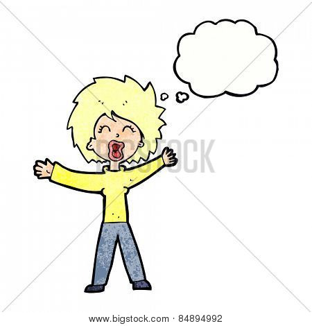 cartoon woman shouting with thought bubble