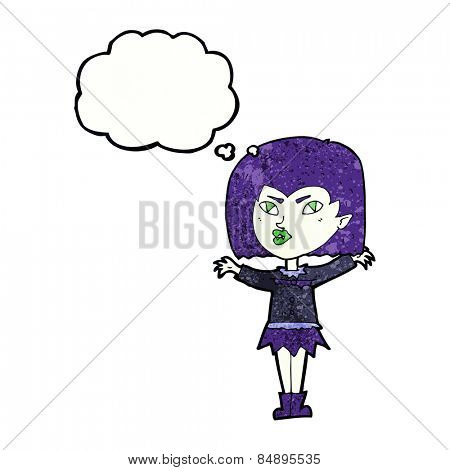 cartoon vampire girl with thought bubble