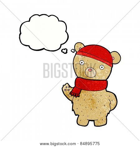 cartoon teddy bear in winter hat and scarf with thought bubble
