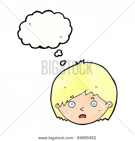 cartoon unhappy boy with thought bubble