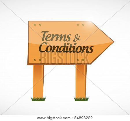 Terms And Conditions Wood Sign Illustration