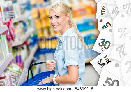 Girl at the shop choosing shampoo at a good price. Concept of consumerism, retail and purchase