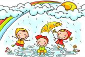 pic of rain  - Happy kids playing in the rain - JPG
