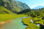 foto of emerald  - This is emerald river in Caucasus green valley - JPG