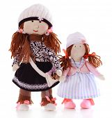 picture of rag-doll  - Handmade dolls isolated on white - JPG