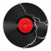 picture of lp  - Broken vinyl record with unlabeled red center - JPG