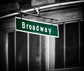 foto of broadway  - Broadway sign with added vignette in Times Square New York - JPG