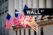 picture of broadway  - Wall street sign in New York with New York Stock Exchange background - JPG