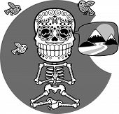 image of fenugreek  - Male human skeleton meditating sitting in a pose of  - JPG