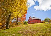image of red siding  - A beautiful country building in the fall - JPG
