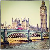 picture of westminster bridge  - Red bus on Westminster Bridge by the Houses of Parliament with Instagram filter effect - JPG