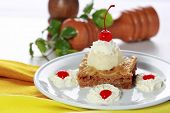 image of baklava  - portrait of Greek dessert Baklava served with vanilla ice cream - JPG