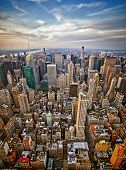 stock photo of freedom tower  - Midtown and lower Manhattan in New York City from high perspective  - JPG