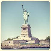 stock photo of statue liberty  - Statue of Liberty in New York City with Instagram effect filter - JPG