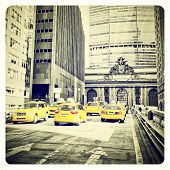 picture of cabs  - Yellow cabs on Park Avenue in front of Grand Central Terminal - JPG