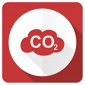 stock photo of carbon-dioxide  - carbon dioxide red flat icon co2 sign  - JPG