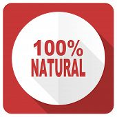 stock photo of 100 percent  - natural red flat icon 100 percent natural sign  - JPG
