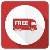stock photo of free-trade  - free delivery red flat icon transport sign  - JPG