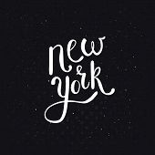 picture of stippling  - Conceptual New York Message in a Simple White Text Style on a Dotted Abstract Black Background - JPG