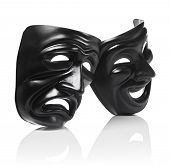 picture of reflection  - Generic plastic masks as theatrical symbols isolated on white with reflection - JPG