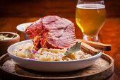image of pork cutlet  - Smoked pork with cabbage  - JPG