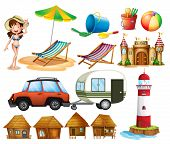 picture of beach hut  - Different beach items and the tourist - JPG